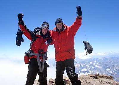 Charles Chuck and Wesley Clements on the summit of Aconcagua, 7summits.com expeditions