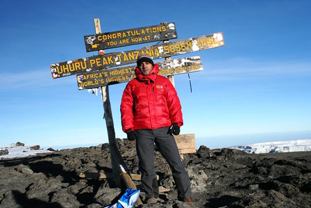 Udai Dadwal on the summit of Kilimanjaro, 7summits.com Expeditions