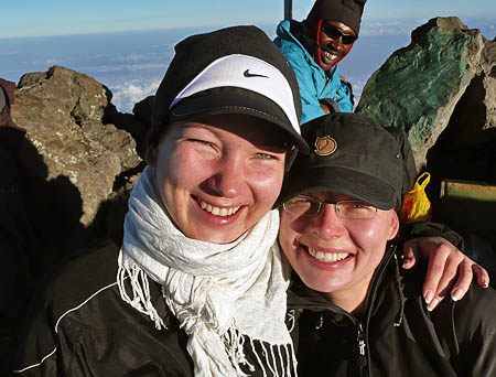 Heidi and jennifer at the summit of Mt Meru, tanzania, 7summits.com Expeditions