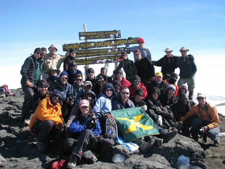 St X team on summit of Kilimanjaro, 7summits.com expeditions, 100% success!